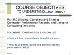 course objectives to understand continued