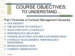course objectives to understand