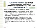definitions what is contract management contract administration compare nigp and florida statutes