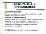 demonstrate spreadsheet