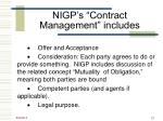 nigp s contract management includes