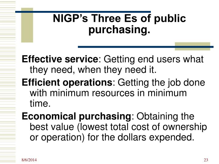 NIGP's Three Es of public purchasing.