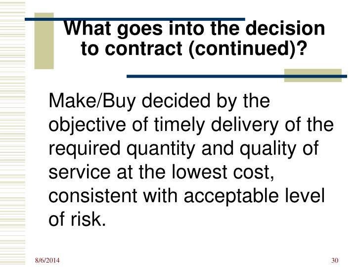 What goes into the decision to contract (continued)?