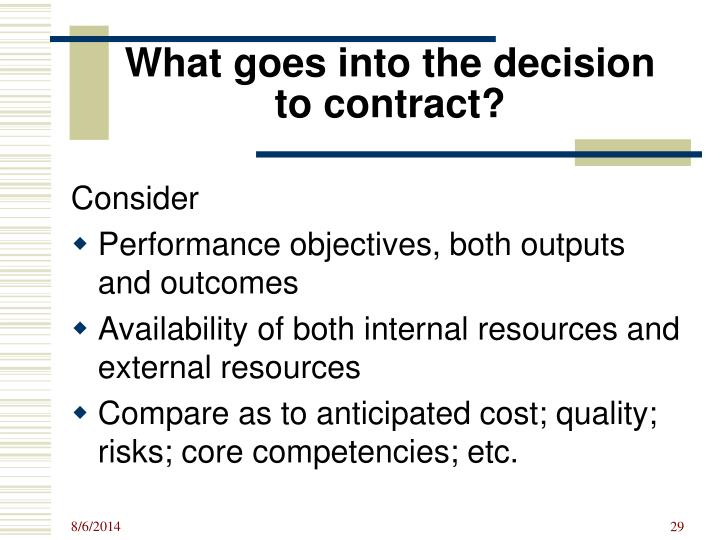What goes into the decision to contract?