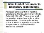what kind of document is necessary continued