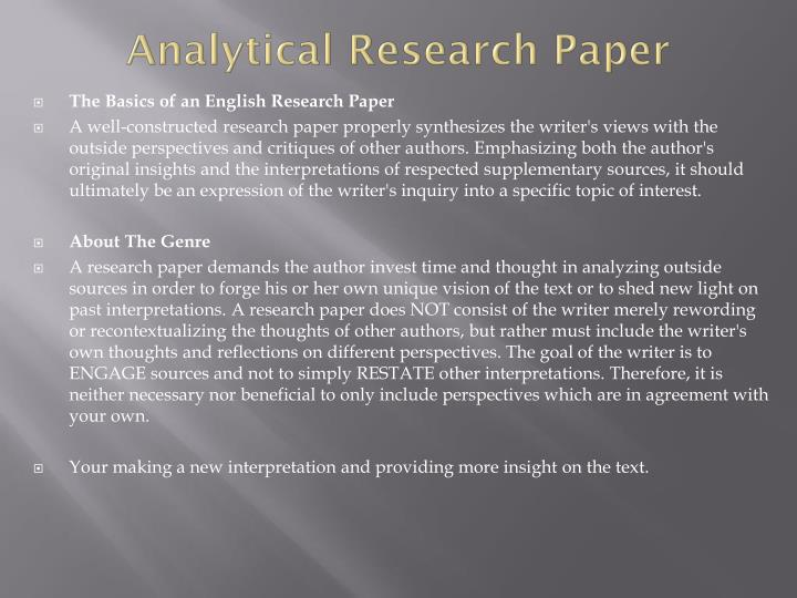 Analytical research paper