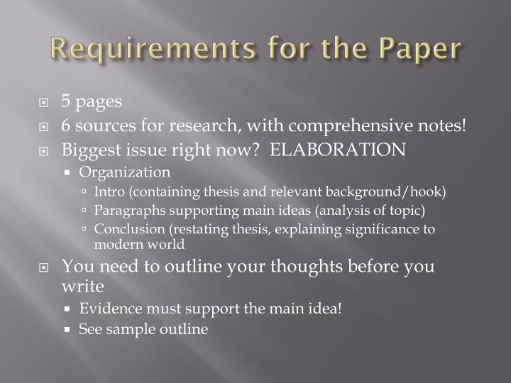 Requirements for the Paper