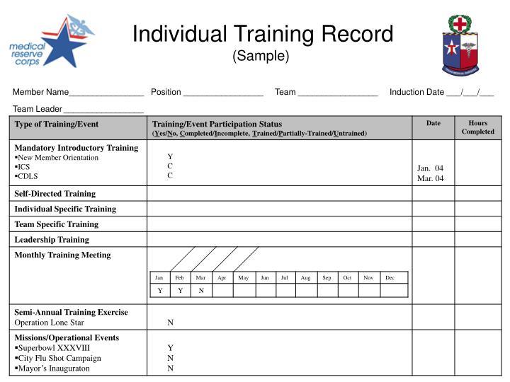 Individual Training Record