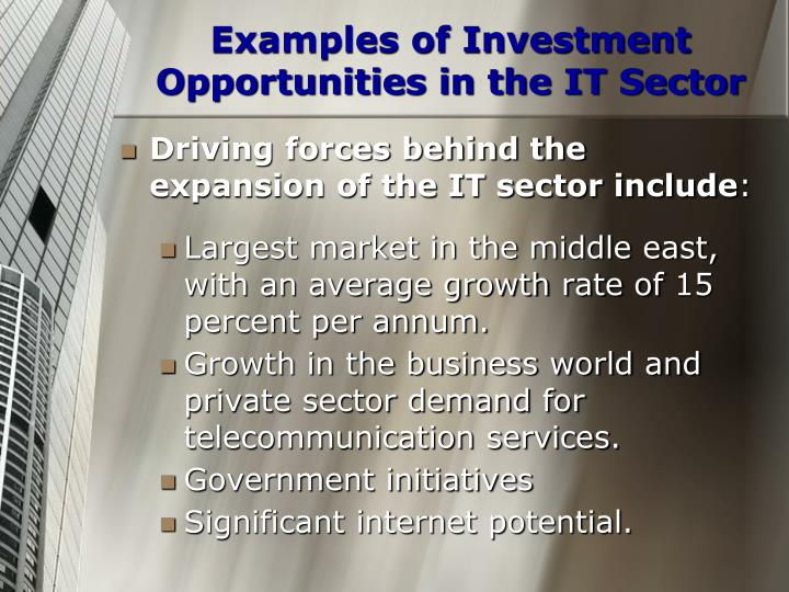 Examples of Investment Opportunities in the IT Sector