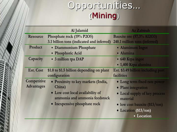 Examples of Investment Opportunities…