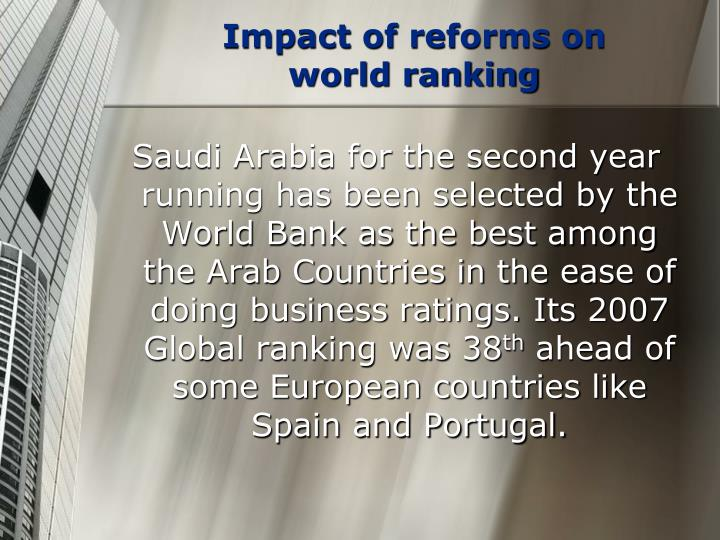 Impact of reforms on