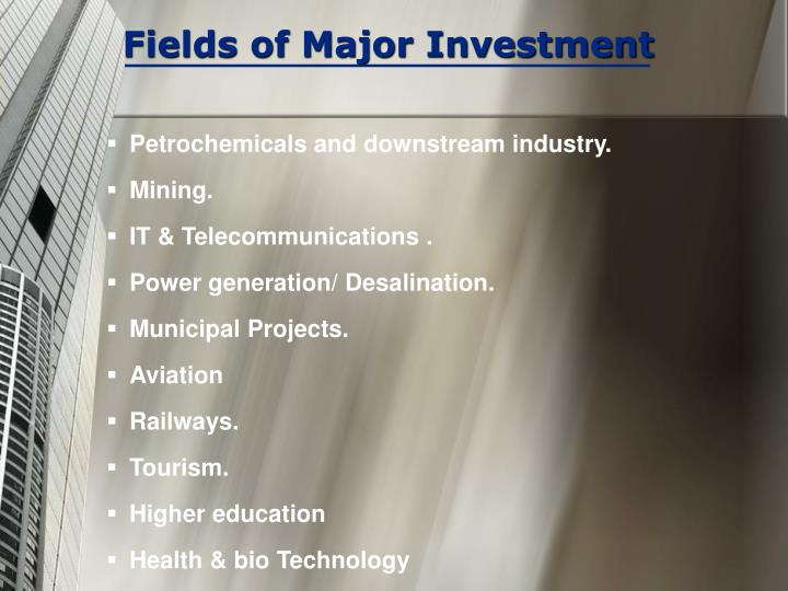 Fields of Major Investment