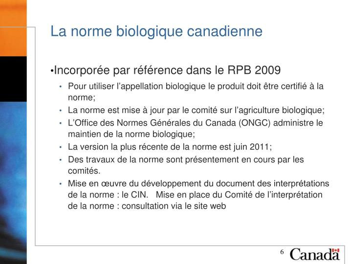 La norme biologique canadienne