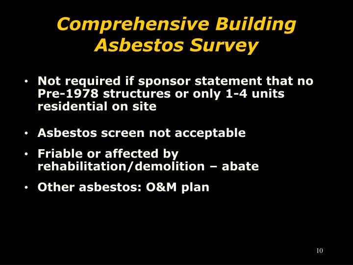 Comprehensive Building Asbestos Survey