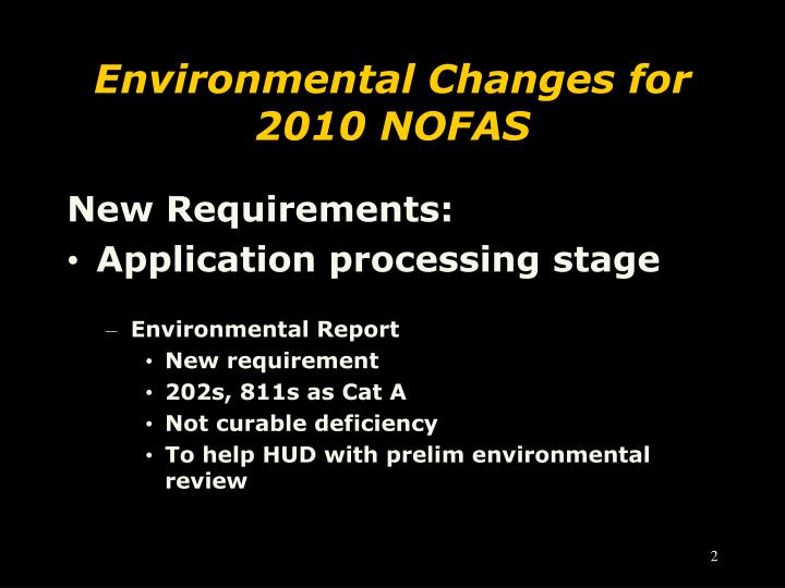 Environmental changes for 2010 nofas