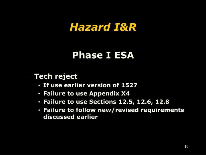 Hazard I&R