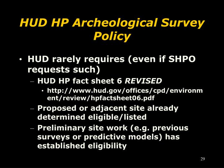 HUD HP Archeological Survey Policy