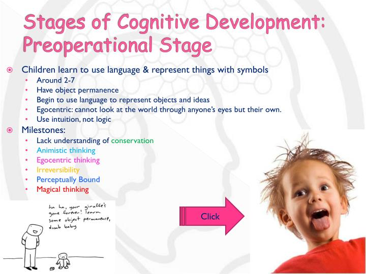 development psychology child preoperational stage The preoperational stage, which occurs between the ages of 2 and 6, is also a time of rapid growth and development at this stage, children still lack the ability to mentally manipulate information and struggle to see things from other people's point of view.