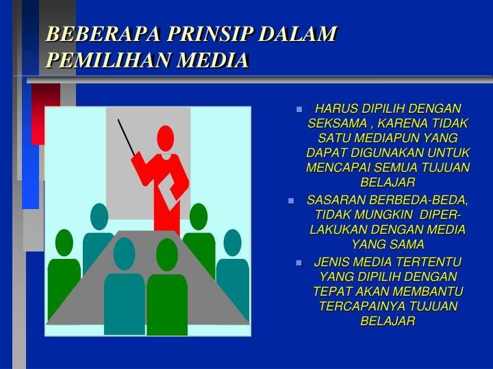 BEBERAPA PRINSIP DALAM PEMILIHAN MEDIA