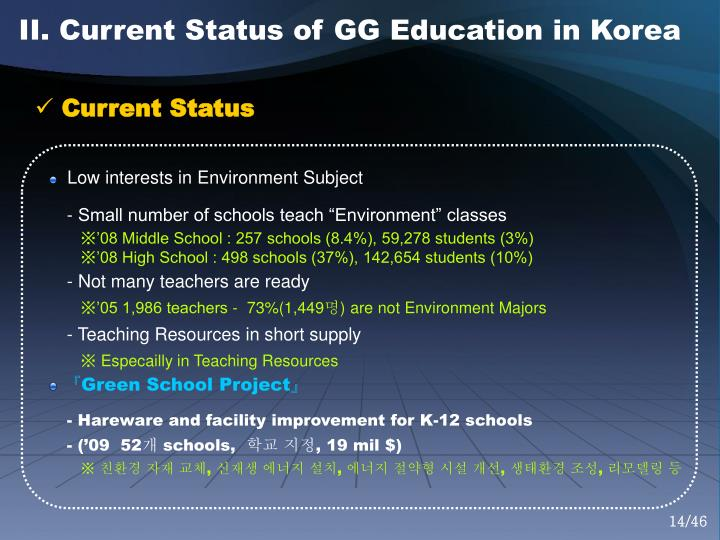 II. Current Status of GG Education in Korea