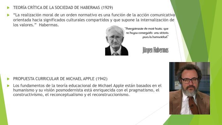 TEORÍA CRÍTICA DE LA SOCIEDAD DE HABERMAS (1929)