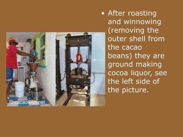 After roasting and winnowing (removing the outer shell from the cacao beans) they are ground making cocoa liquor, see the left side of the picture.
