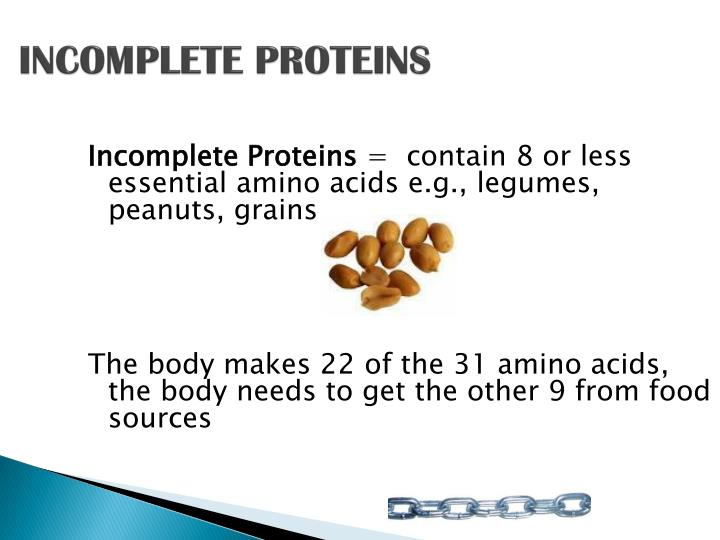 INCOMPLETE PROTEINS