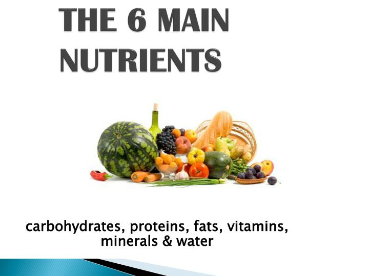 THE 6 MAIN NUTRIENTS
