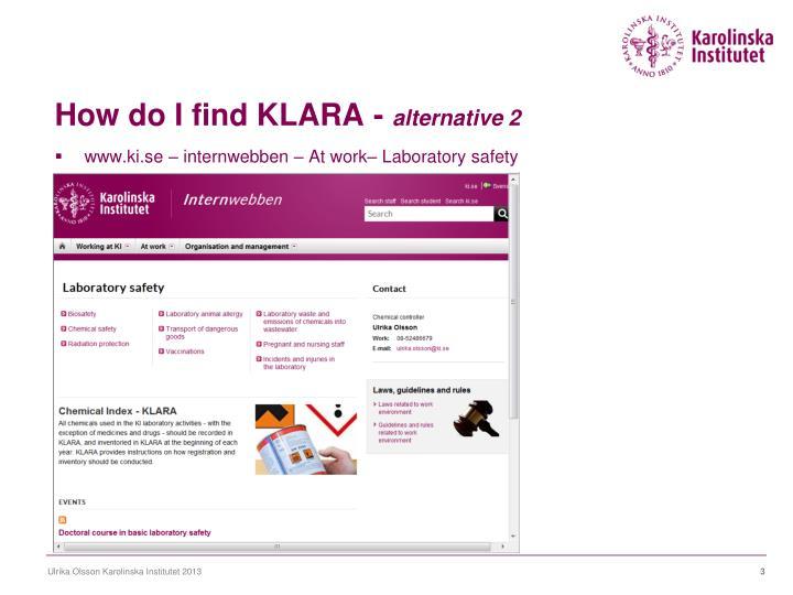 How do I find KLARA -