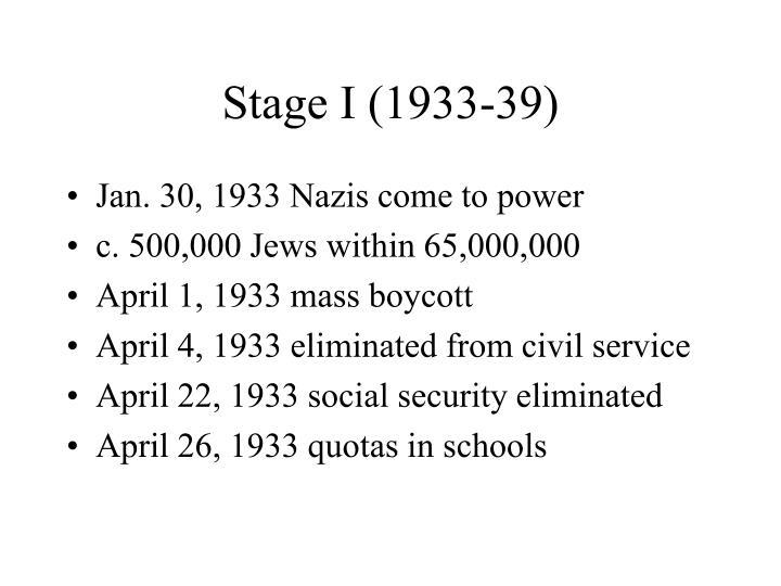 Stage I (1933-39)