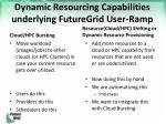 dynamic resourcing capabilities underlying futuregrid user ramp
