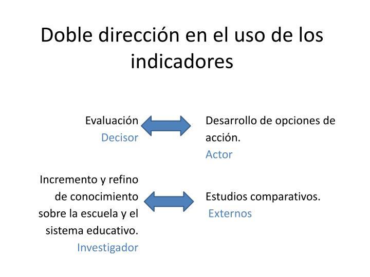 Doble dirección en el uso de los indicadores