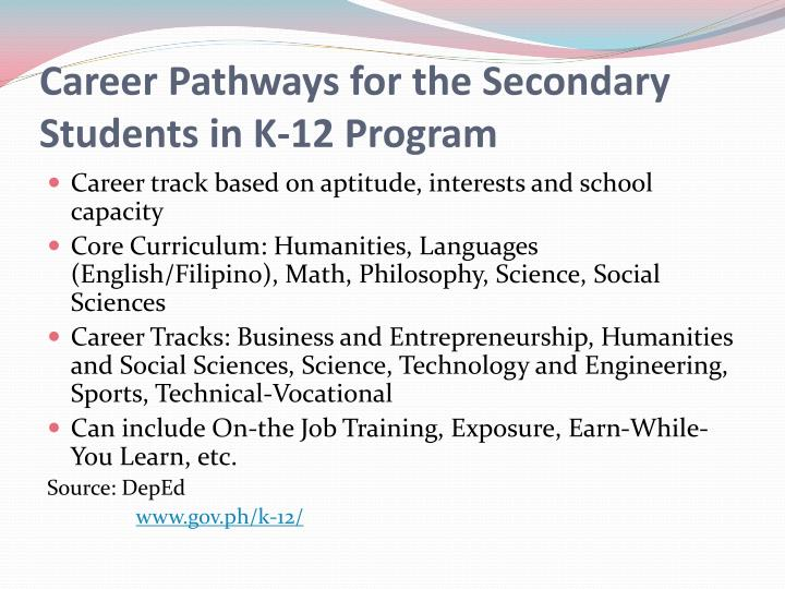 Career Pathways for the Secondary Students in K-12 Program