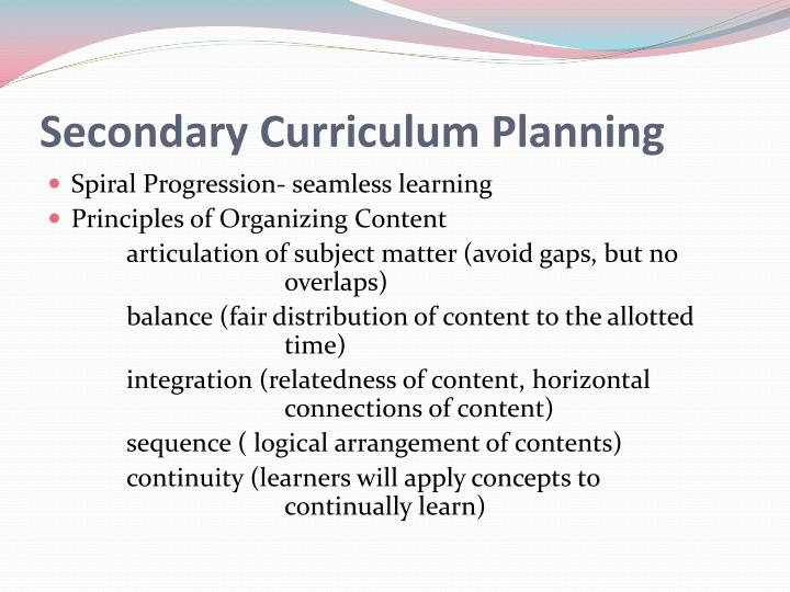 Secondary Curriculum Planning