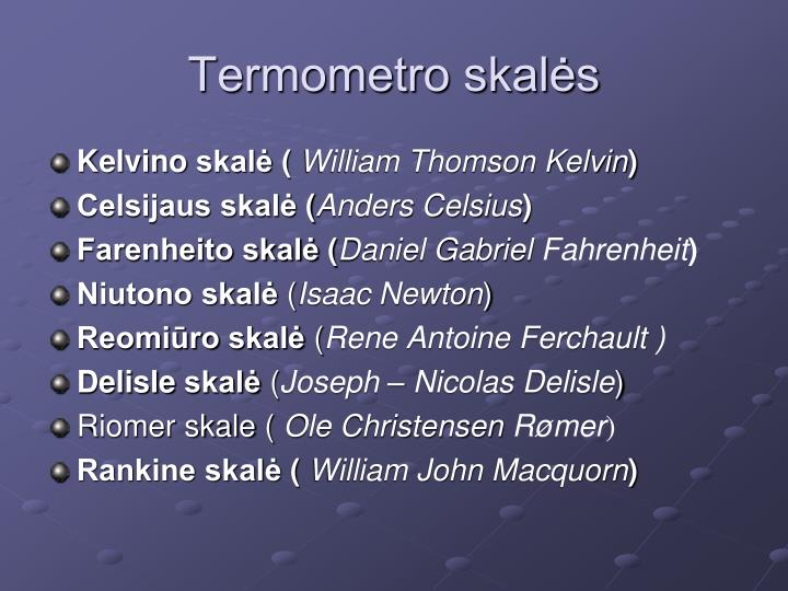 Termometro skalės