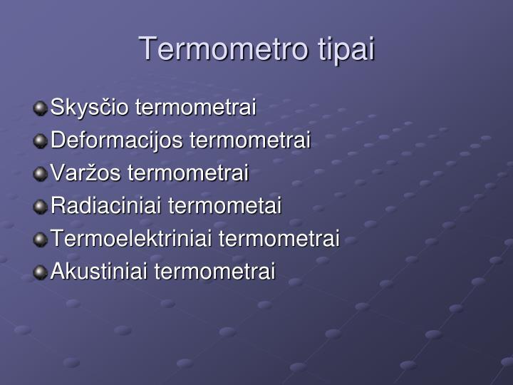 Termometro tipai