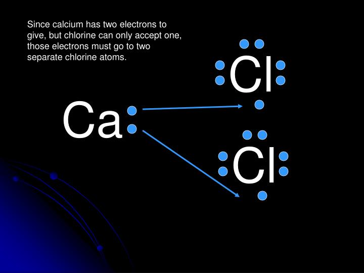 Since calcium has two electrons to give, but chlorine can only accept one, those electrons must go to two separate chlorine atoms.