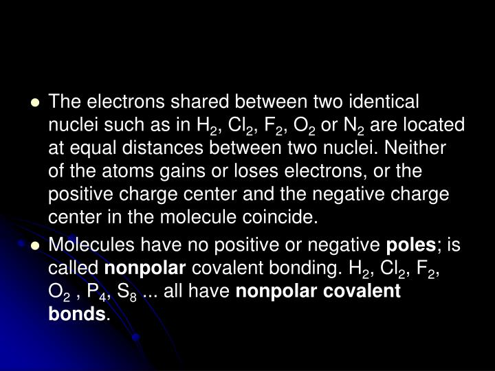 The electrons shared between two identical nuclei such as in H
