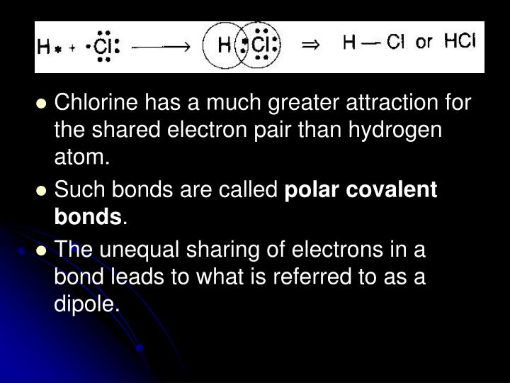 Chlorine has a much greater attraction for the shared electron pair than hydrogen atom.