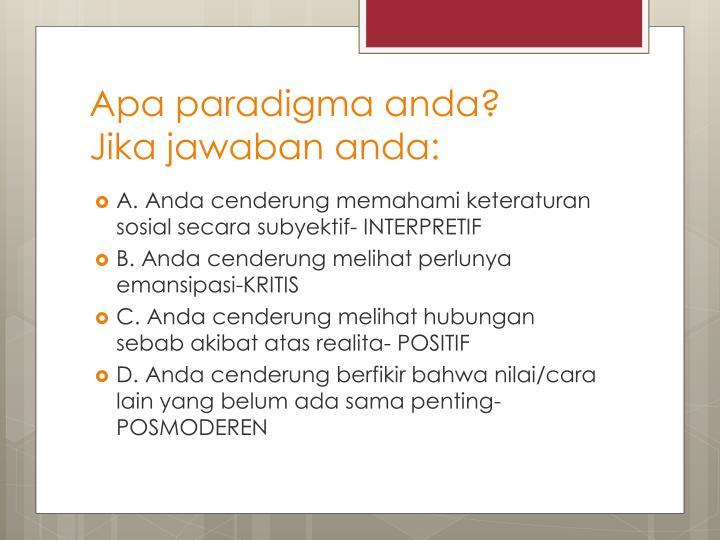 Apa paradigma anda?