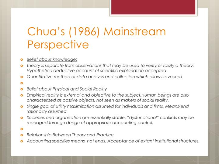 Chua's (1986) Mainstream Perspective