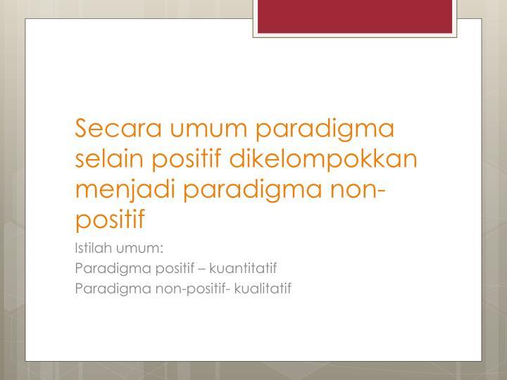 Secara umum paradigma selain positif dikelompokkan menjadi paradigma non-positif