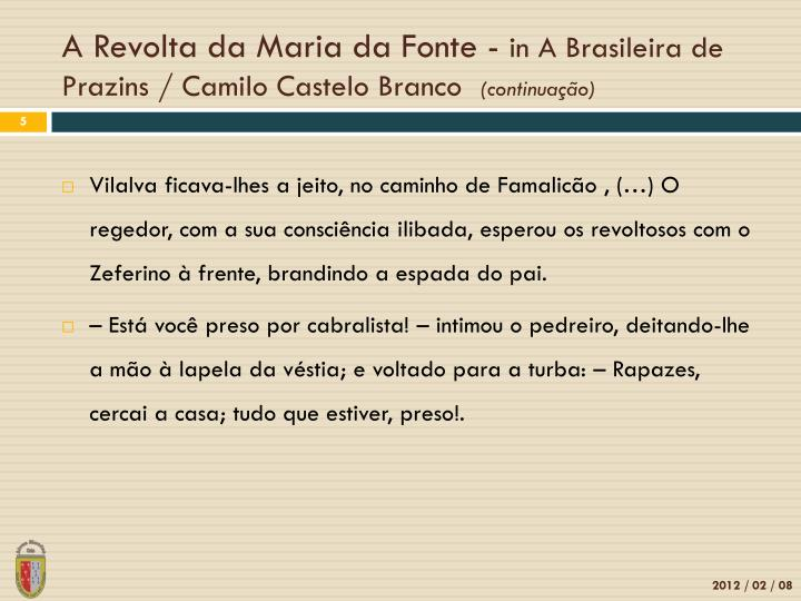 A Revolta da Maria da Fonte -