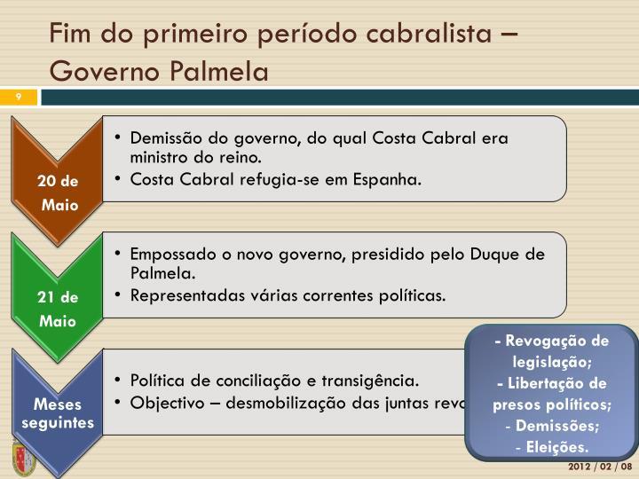 Fim do primeiro período cabralista – Governo Palmela