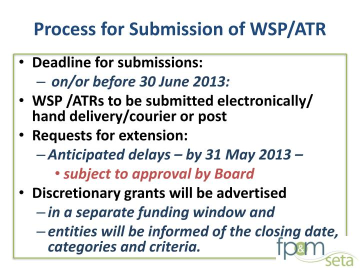 Process for Submission of WSP/ATR
