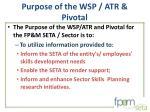 purpose of the wsp atr pivotal