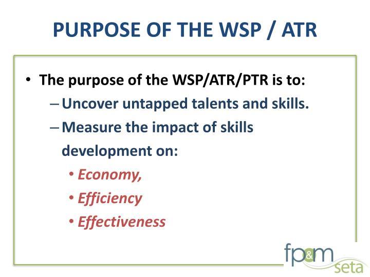 PURPOSE OF THE WSP / ATR