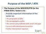 purpose of the wsp atr2