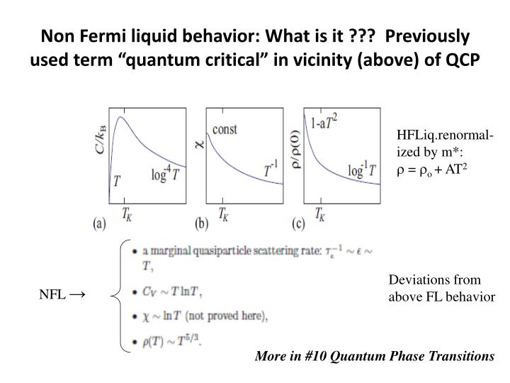 "Non Fermi liquid behavior: What is it ???  Previously used term ""quantum critical"" in vicinity (above) of QCP"