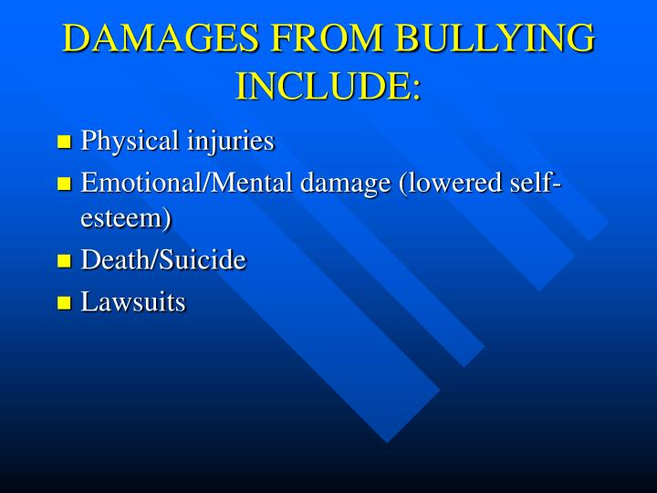 DAMAGES FROM BULLYING INCLUDE: